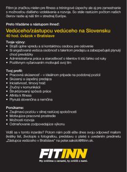 Vedúceho/zástupcu vedúceho na Slovensku