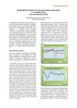 Krátkodobá predikcia vývoja slovenskej ekonomiky v 1