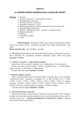 Zápisnica OZ 24.6.2014 - Obec Krásnohorské Podhradie
