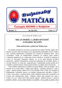 Milan Hodža a jeho spätosť s osadou Kulpín