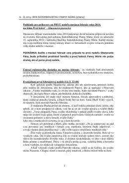 A. D. 2014 - ROK SEDEMBOLESTNEJ PANNY MÁRIE (2/2014
