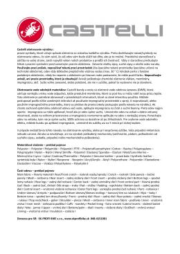 Castelli ošetrovanie výrobku : pracie symboly, ktoré