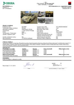 Číslo protokolu: ald−sk−euro−421 Dátum obhliadky: 1. 10. 2014