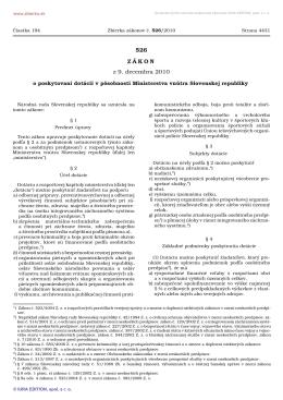 Zákon č. 526/2010 Z. z - Ministerstvo vnútra SR