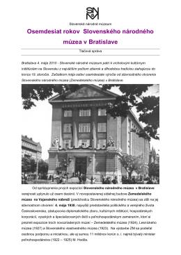 Osemdesiat rokov Slovenského národného múzea v Bratislave