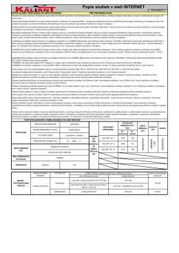 Popis služby v sieti Internet pre programy KALIANT AC platný od 1.9