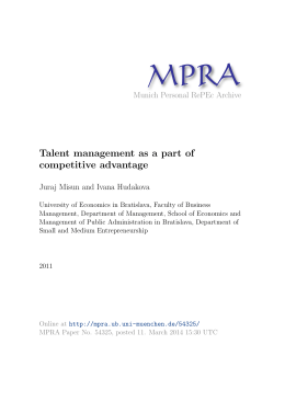 Talent management as a part of competitive advantage