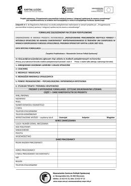 Formularz zgłoszeniowy - Mazowieckie Centrum Polityki Społecznej