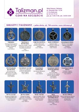 AMULETY I TALIZMANY – pełna oferta, ok. 700 wzorów: www