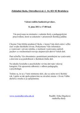 Základná škola Ostredková 14, Bratislava