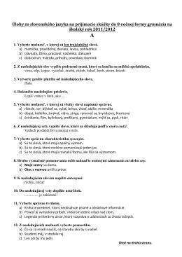Úlohy zo slovenského jazyka na prijímacie skúšky do 8