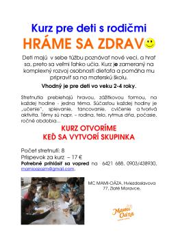 HRÁME SA ZDRAV - Materské centrum Mami