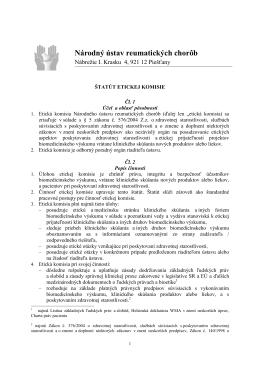 Štatút Etickej komisie