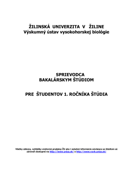 Sprievodca bakalárskym štúdiom - vuvb.uniza.sk