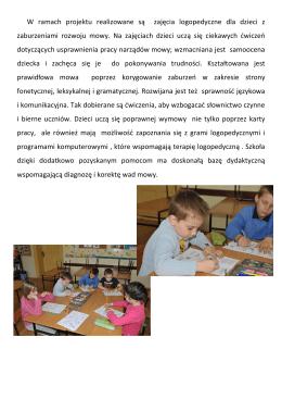 zajęcia logopedyczne dla dzieci z zaburzeniami mowy