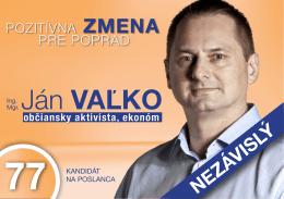 Ján valko - OZ POPRADČANIA ZA ČISTEJŠIE ŽIVOTNÉ
