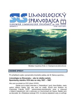 Limospravodajca 2004/1 - Slovenská limnologická spoločnosť pri SAV