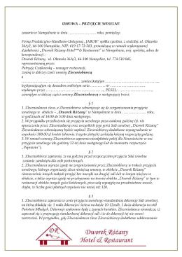 Umowa weselna - Dworek Różany