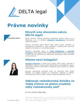 DELTA legal Právne novinky