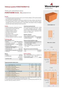 Produktový list POROTHERM 44 Si