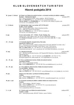 Hlavné podujatia 2014 KST