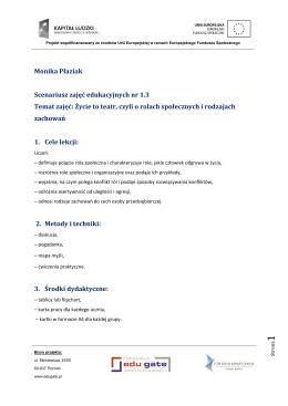 Monika Płaziak Scenariusz zajęć edukacyjnych nr 1.3