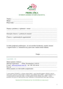 Prihláška za sympatizanta strany SMER