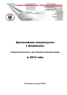 Sprawozdanie merytoryczne 2013