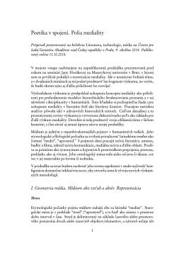 Poetika v spojeni. Polia mediality (2014)
