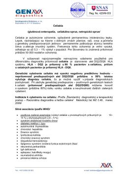 Celiakia /gluténová enteropatia, celiakálna sprue