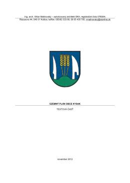 územný plán obce kysak -textová časť