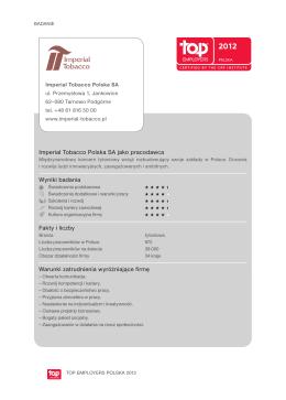 Imperial Tobacco Polska SA jako pracodawca Wyniki badania Fakty