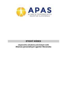 Etický kódex Aliancie personálnych agentúr Slovenska
