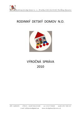 Výročná správa 2010 - Detský domov kocurice