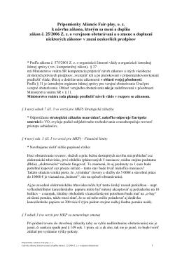 § 3 odsek 1 (vo verzii pre MKP sa nenavrhuje - Aliancia Fair-play