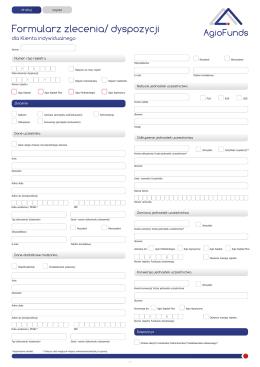 Formularz Zlecenia/Dyspozycji dla Klientów Indywidualnych