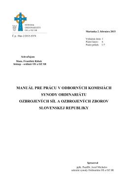 manuál pre prácu v odborných komisiách synody ordinariátu