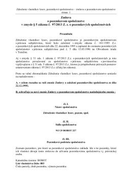 Zmluva o založení pozemkového spoločenstva v zmysle