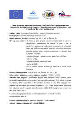 Tento projekt je realizovaný s podporou EURÓPSKEJ ÚNIE, cez