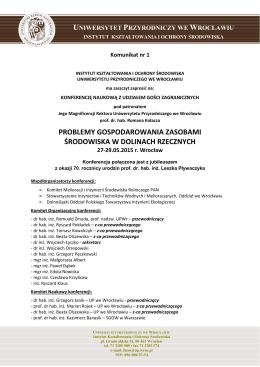 Komunikat nr1 - Uniwersytet Przyrodniczy we Wrocławiu