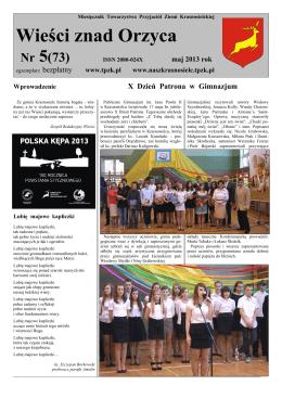 Nr 5(73), maj 2013 - Towarzystwo Przyjaciół Ziemi Krasnosielckiej