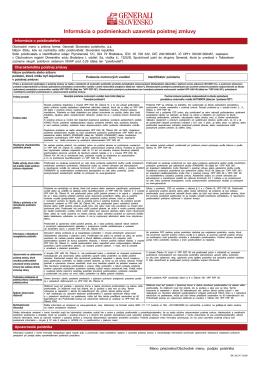 Informácia o podmienkach uzavretia poistnej zmluvy