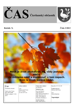 Čas Čierňanský občasník číslo 3 - október 2013 - k stiahnutiu