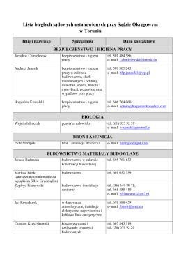 Lista biegłych sądowych ustanowionych przy Sądzie Okręgowym w