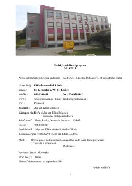Školský vzdelávací program - šk. rok 2014/2015