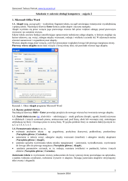 Szkolenie w zakresie obsługi komputera – zajęcia 2 1. Microsoft