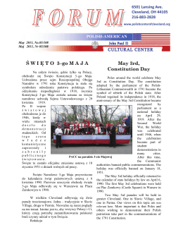 Ś W I Ę T O  3–go M A J A May 3rd, Constitution Day