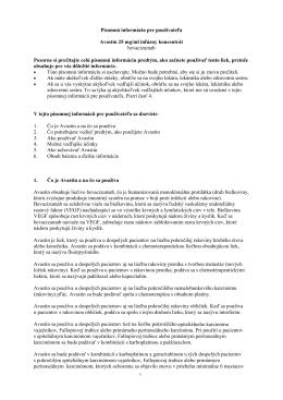Písomná informácia pre používateľa Avastin 25 mg/ml infúzny