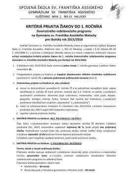 kritéria prijatia do 1. ročníka pre školský rok 2015/16