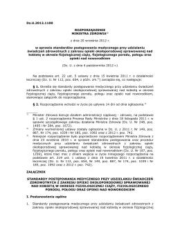 rozporządzenie Ministra Zdrowia w sprawie standardów